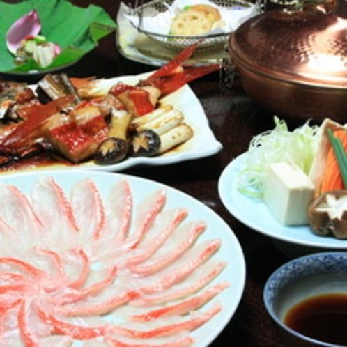 【金目鯛一例】稀少トロ金目鯛をしゃぶしゃぶ&煮付でご賞味いただけます。