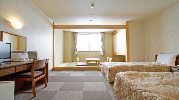 【禁煙】和洋室(ツインベッド+タタミ3畳)
