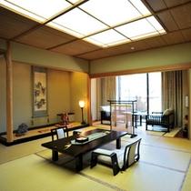 花舞樹の館1階特別室【鳳れん】12.5畳+6畳 洗面台2個、掘りごたつ、石露天風呂付きの特別室。