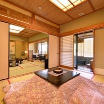 *【2階特別室 秀逢】檜風呂/和室12.5畳/次の間/踏込 夕日を浴びながら浸かる露天風呂は最高です
