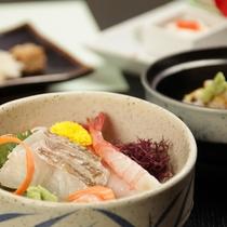 【阿賀会席】献立一例/日本海の鮮魚3点盛