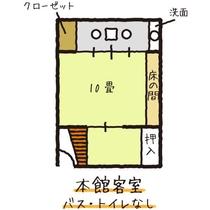 【本館】和室10畳/バス・トイレなし/間取り図