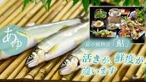 ☆夏の名物料理「鮎」コース!期間限定7/31まで。新鮮な鮎の塩焼やお造り、釜飯など、夏の恵みを存分に
