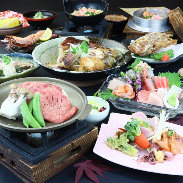 夕食◆板さんおまかせコース!牛タンの陶板焼がついてボリューム満点