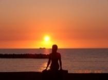 人魚と夕日