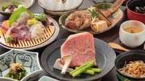 【グレードアップ】黒毛和牛ステーキ付き会席一例