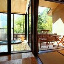 開放感溢れる半露天風呂。全面ガラス張り、開閉式の窓の向こうは白骨の山々(一例)