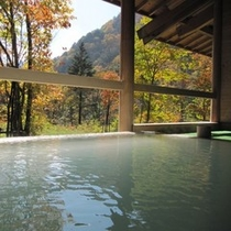 紅や黄に、紅葉が美しい秋の露天風呂