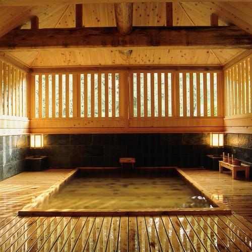 【総檜造り 御夢想の湯】夜もすがら読経をしていると夢枕に童子が立ち・・・四万温泉の開湯伝説に因んで。