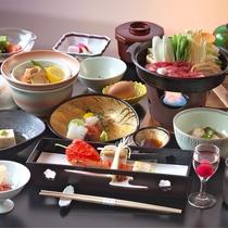 【会席料理『華』一例】季節の食材をふんだんに使ったお料理を、気軽に楽しんで頂けます。