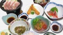 *ビジネスプラン夕食一例/地元の食材も楽しめる人気のお夕食。しっかり食べて翌日のお仕事も元気に出発♪