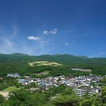 ☆夕日ヶ丘展望台より岳温泉と安達太良山を望む
