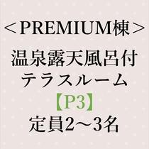 <PREMIUM棟>温泉露天風呂付 テラスルーム【P3】定員 2名~3名