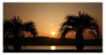 フェニックスと夕日・・前島港にて