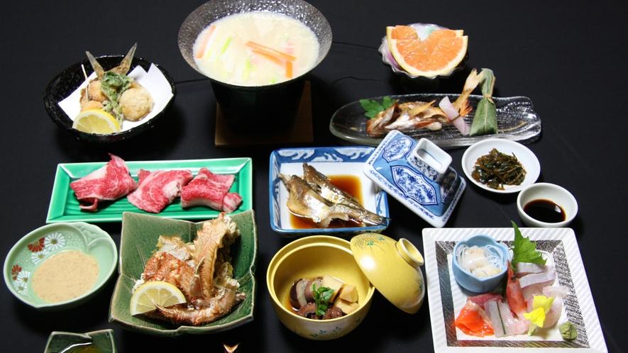 *おまかせ夕食(一例)旬の食材を使ったり、その日の仕入れ状況によって内容・調理法をかえております
