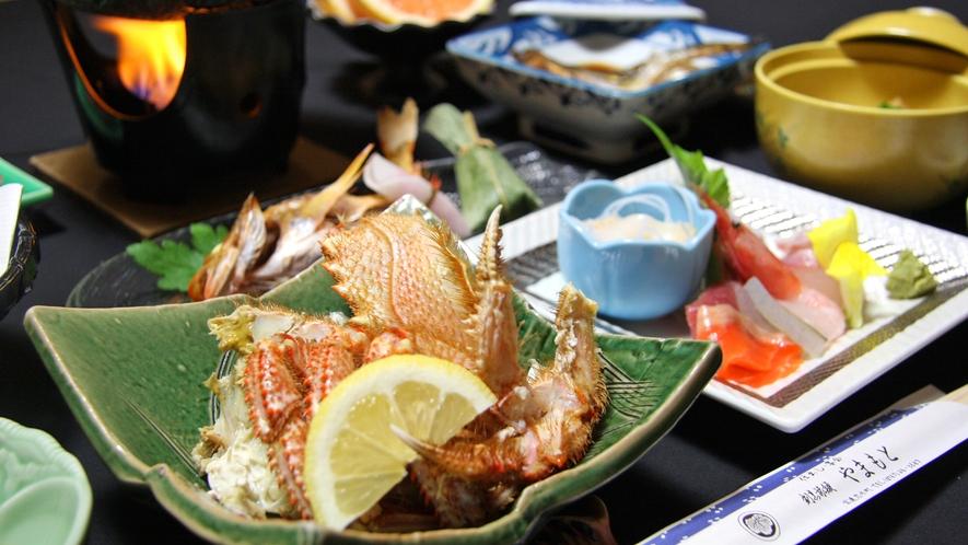 *おまかせ夕食(一例)能登のカニは甘みが強く美味しい!冬にご用意いたします。
