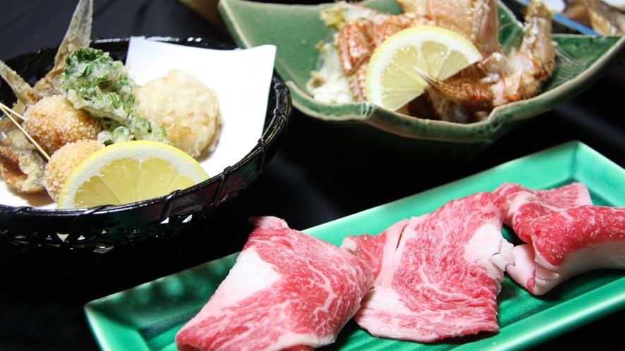 *おまかせ夕食(一例)土地の食材や自家製野菜をふんだんに使用しております。