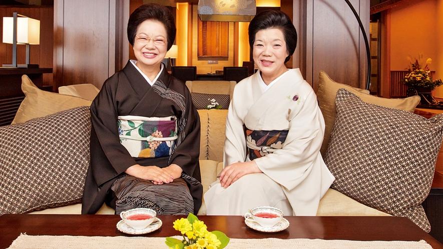 姉妹館泉慶の女将と当館女将(実は二人はホントの姉妹)
