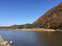 久慈川と紅葉♪ ホテル目の前の絶景