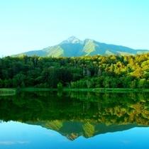 観光スポットの姫沼にて。お天気の日には湖面に逆さ富士が姿を現します。
