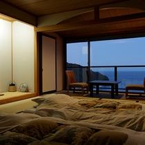 客室一例 高台から望む全室オーシャンビュー
