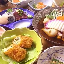 *夕食一例/小川原湖のお魚、三陸の海の幸、八甲田の山の幸など