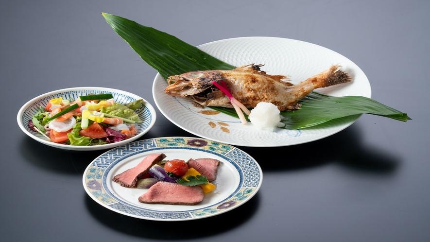 ローストビーフ・海鮮サラダ・のど黒塩焼き(イメージ) 夕食~石川の幸大盤振る舞い~より