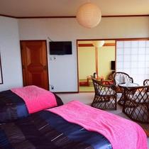 【オーシャンビュー和洋室】和室6畳+ツイン(207号室)