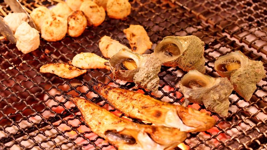 秋田食材の炭火焼