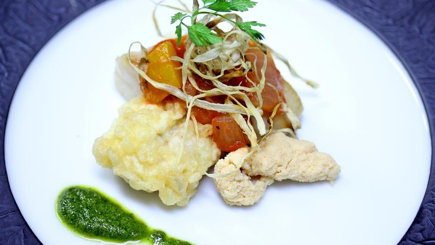 魚料理一例/鰆のポアレ