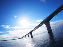 【伊良部大橋】全長3,540mの伊良部大橋は、無料で渡れる橋としては日本一です!