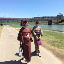 お着物をレンタルして筑後川のお散歩♪