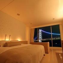 【全室:景色】ライトアップされる夜景が全部屋で望む