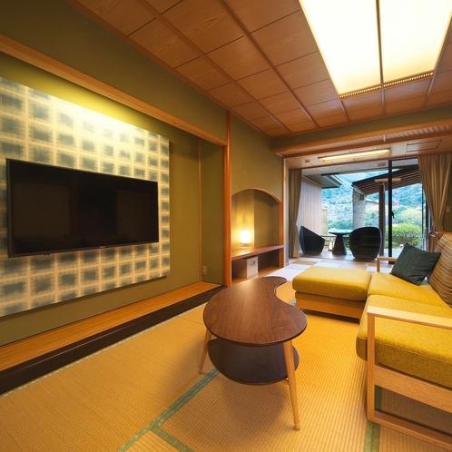 ジェットバスの露天風呂付客室&ベッドルーム