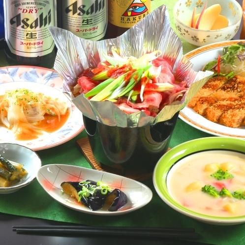 【夕食】グレードアップ料理。選べるあったか鍋がつきます!