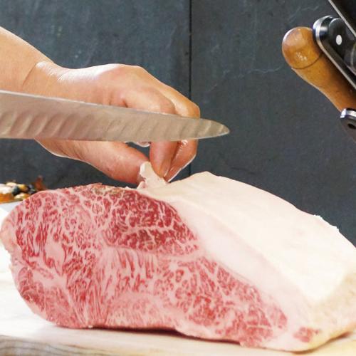 少し赤みが多く、肉質感が味わえます。  霜降りのステーキ肉でご満足いただけます(イメージ画像)