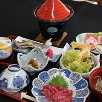 馬刺し、岩魚、野沢菜・・信州の素材がてんこ盛り