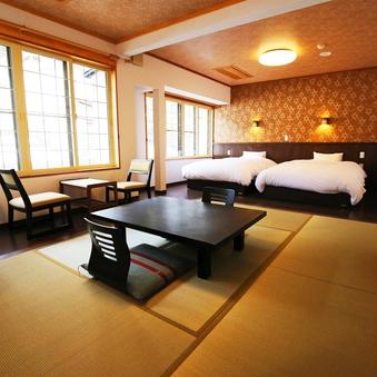 【和洋室】セミダブルツインベッド+和室8畳又は6畳【禁煙室】