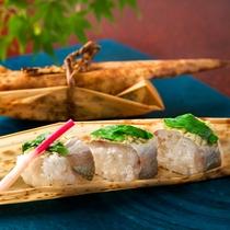 連泊特典 鯵の棒寿司