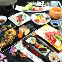 【夕食】特別室で熊本ブランド牛と馬刺しが楽しめるお肉大好きコースの一例