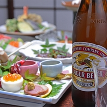 *ビール付プラン(お夕食一例)/割烹料理ならではの上質な味わいとともに。