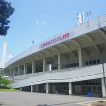 *敷島公園/当館目の前にある敷島公園。大きな野球スタジアムもあります。