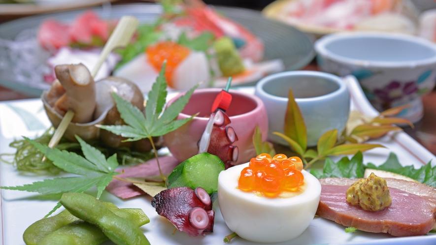 *お夕食一例(前菜)/地元の食材を活かした旬味を季節感を添えて。