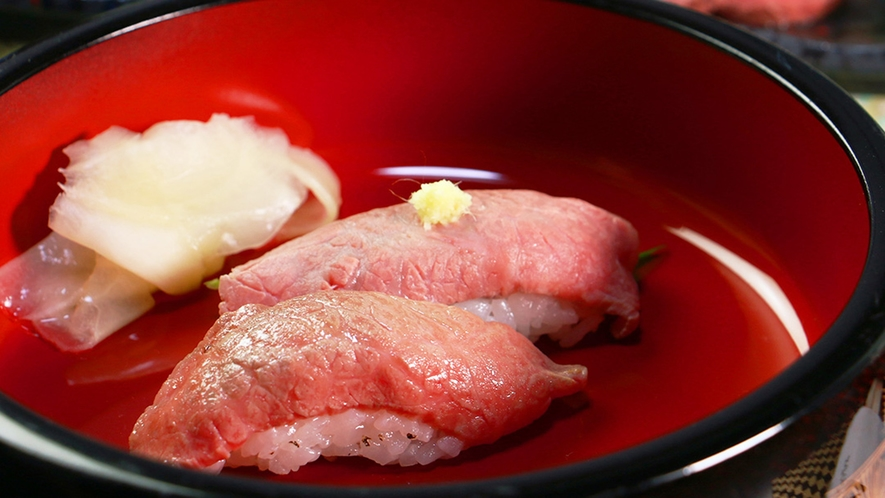 贅沢な前沢牛の寿司も味わえる!リピーターもうなる一品☆