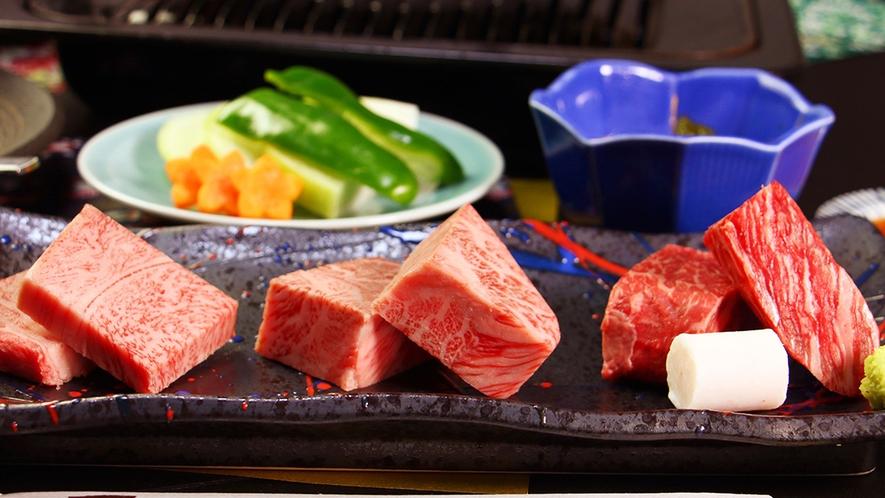 前沢牛三種【(左)みすじ (中)リブロース (右)ランプ】味の食べ比べ