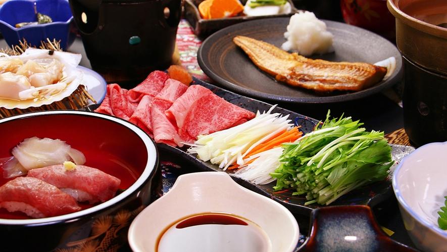 前沢牛のとろけるしゃぶしゃぶ肉で野菜を巻いて二種のタレで