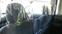 別府駅の送迎で使う車には運転席との間に抗菌ビニールシートを設置して飛沫感染対策