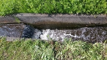 湧水 水田への湧水取り入れ口