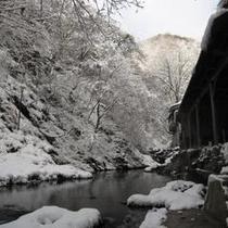 冬の露天風呂から見える景色