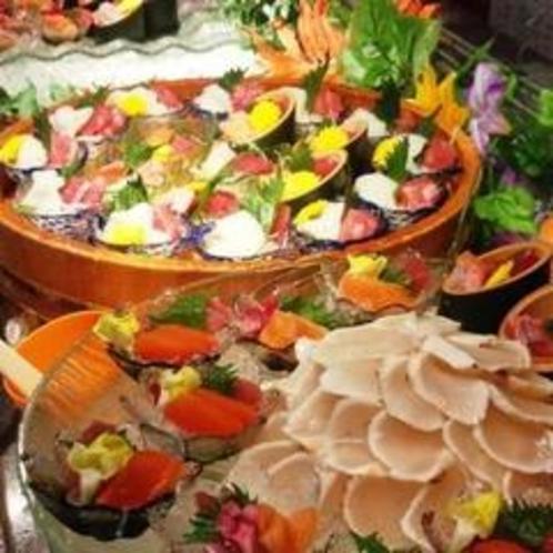 夕食バイキング刺身コーナー(例)